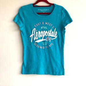 🎀 Aeropostale Designed In NYC Logo 100% Cotton Medium Size Tee Top